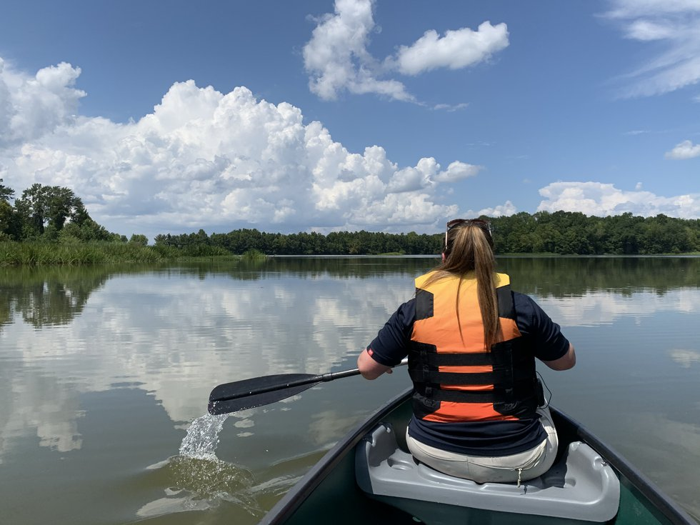 Park Naturalist Lauren Muncher leads a guided eco-tour on the Alabama River at Roland Cooper...