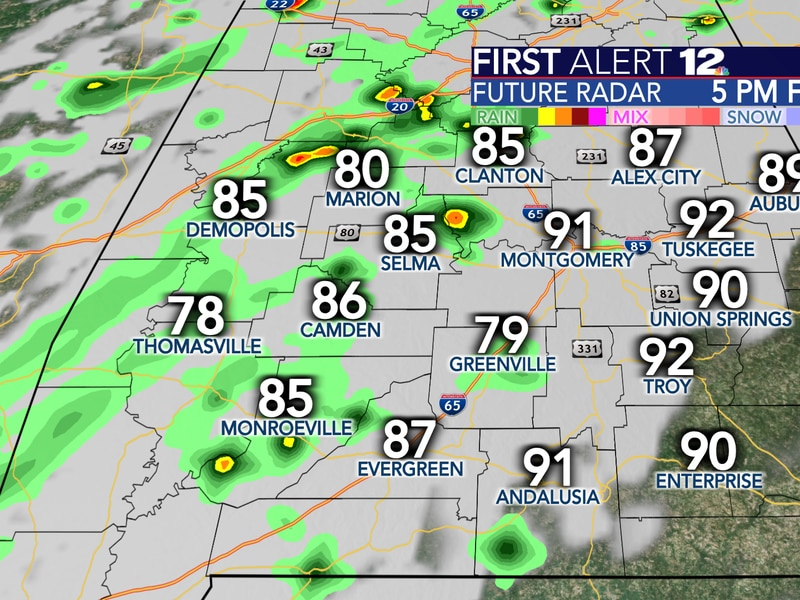 Friday will bring some scattered showers and storms as a frontal boundary pushes in from the...