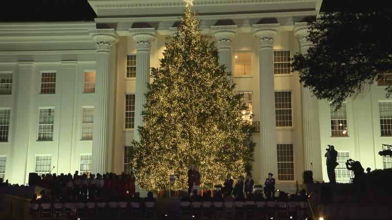 The tree is a 35-foot Eastern Red Cedar and is decorated with thousands of lights and 67 star...