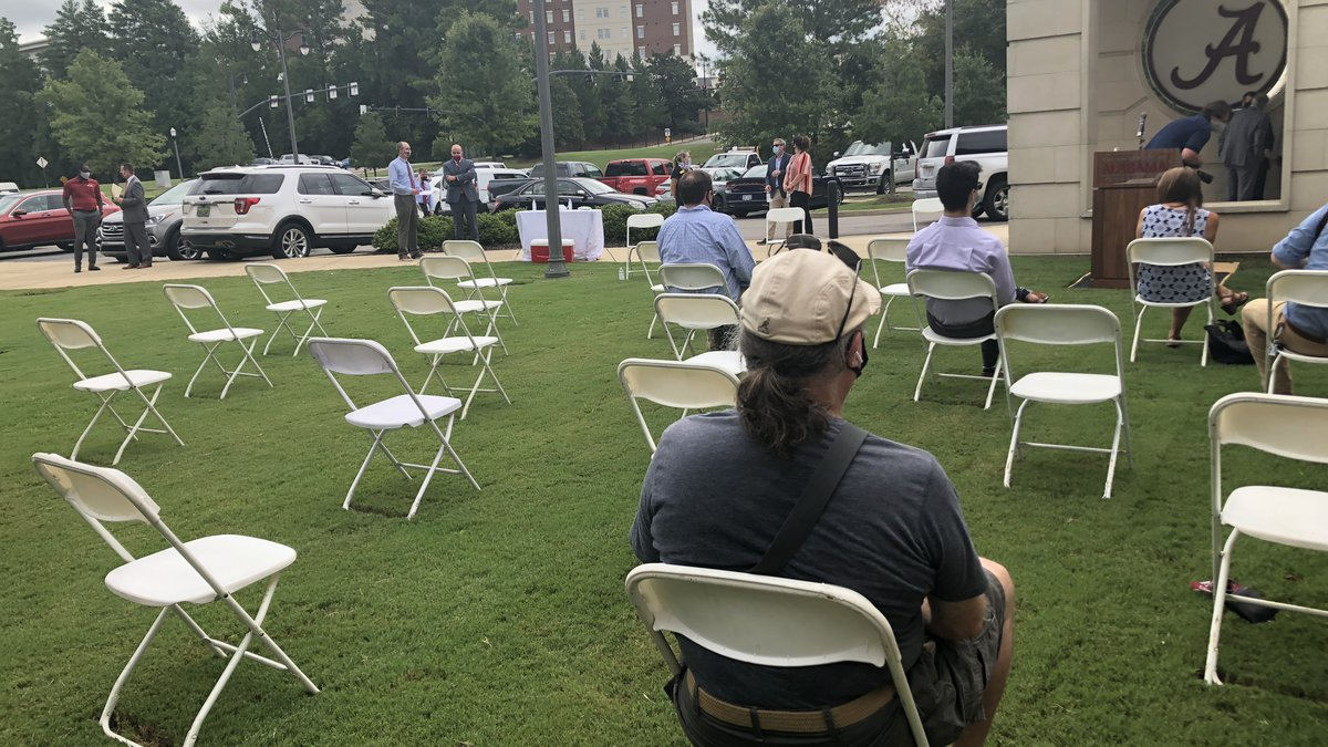 University of Alabama and Tuscaloosa City officials hold a press conference to discuss a spike...