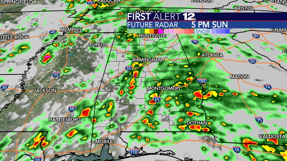 Widespread rain and storms again Sunday.