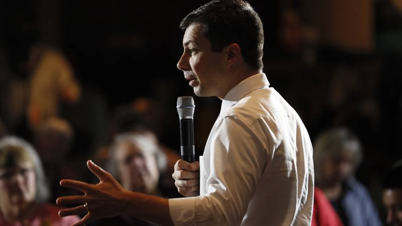 Democratic presidential candidate South Bend, Ind., Mayor Pete Buttigieg speaks during a town...