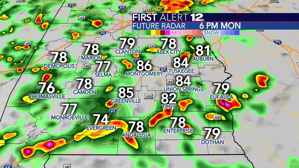 Numerous showers and storms likely Monday