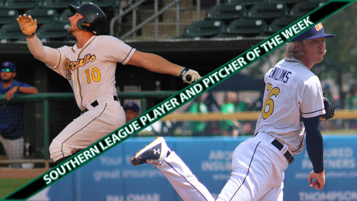 Kevin Padlo and Sam McWilliams swept the Southern League Player and Pitcher of the Week honors.