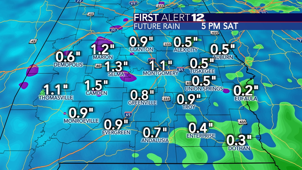 Total rain over the next 7 days suggest no big systems, tropical concerns or fronts will impact...