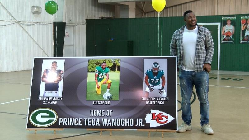Former Edgewood Academy football standout Prince Tega Wanogho Jr. honored on campus with Tega...