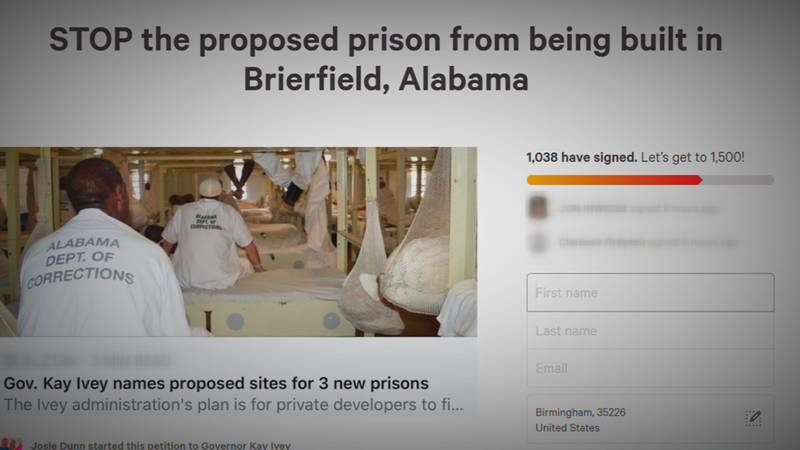 Brierfield resident, Josie Dunn, started a petition to stop a prison from being built in the...