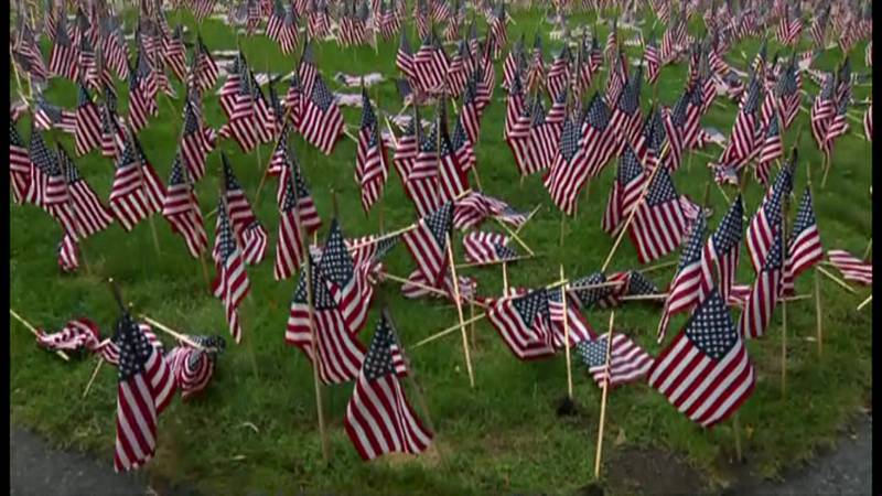 Some of the nearly 3,000 flags placed in Boston's Public Garden in honor of those who died in...