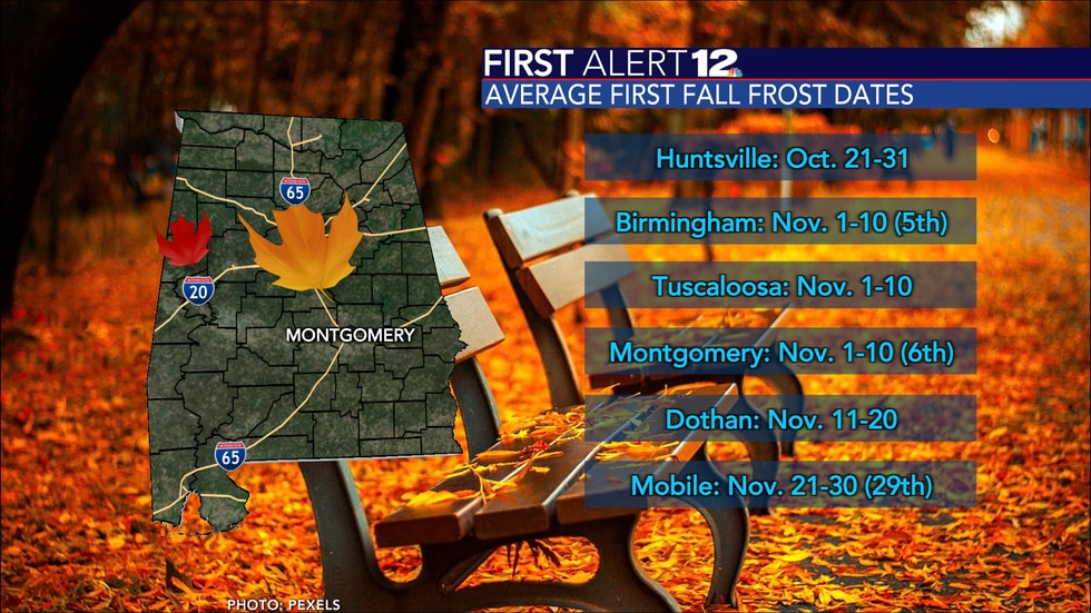 The average first frost dates in Alabama.