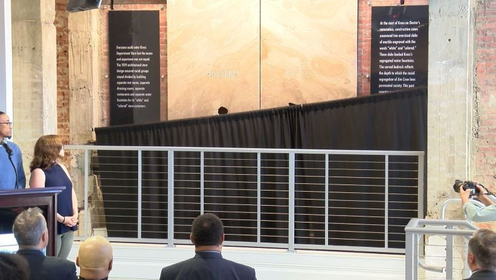 They unveiled two marble slabs where separate water fountains once were. (Source: WSFA 12 News)