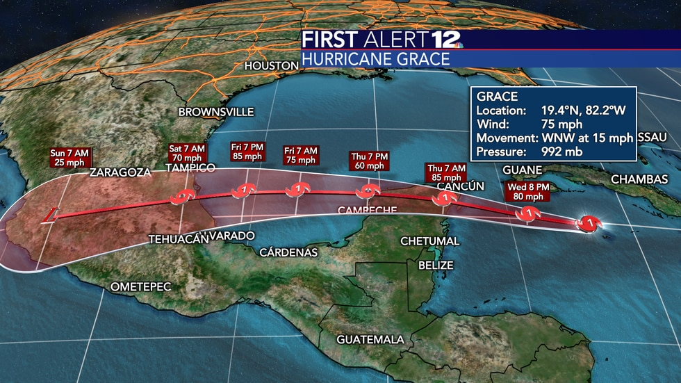 Grace will be a hurricane at both Mexico landfall points over the next several days.