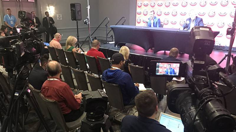 Georgia quarterback Jake Fromm answers questions on Day 2 of SEC Media Days.