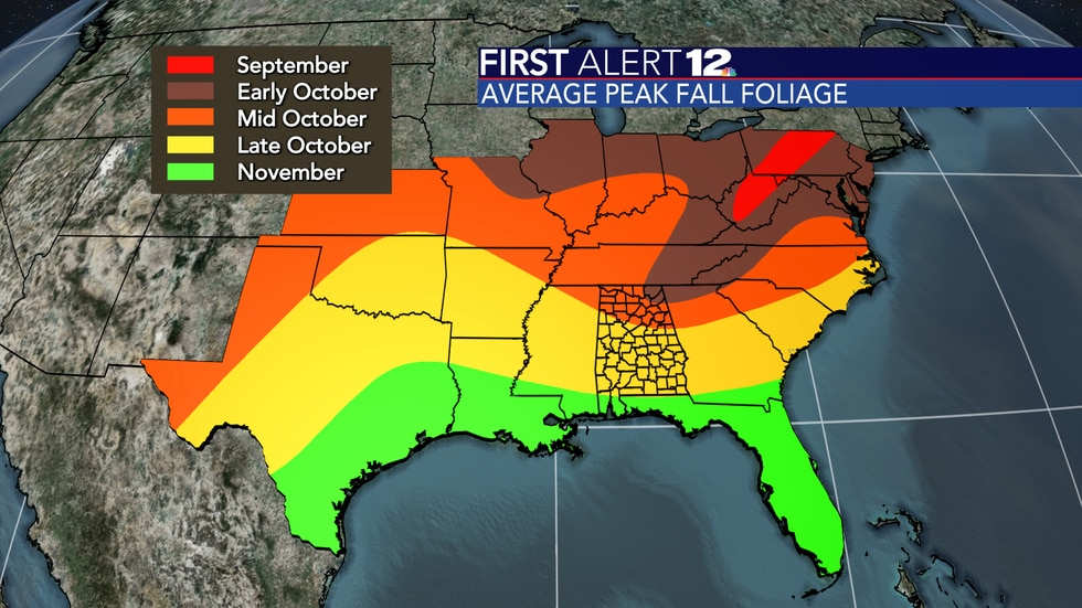 Average time of year for peak fall foliage.