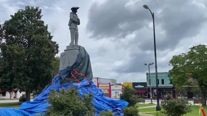 File photo of a Confederate monument in Tuskegee that was damaged in July by a sitting city...