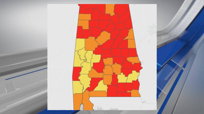 Alabama's color coded map detailing severity of COVID-19 community transmission rates is...