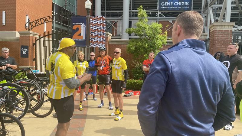 Bo Jackson speaks outside Auburn's Jordan Hare Stadium just before kicking off a small VIP bike...
