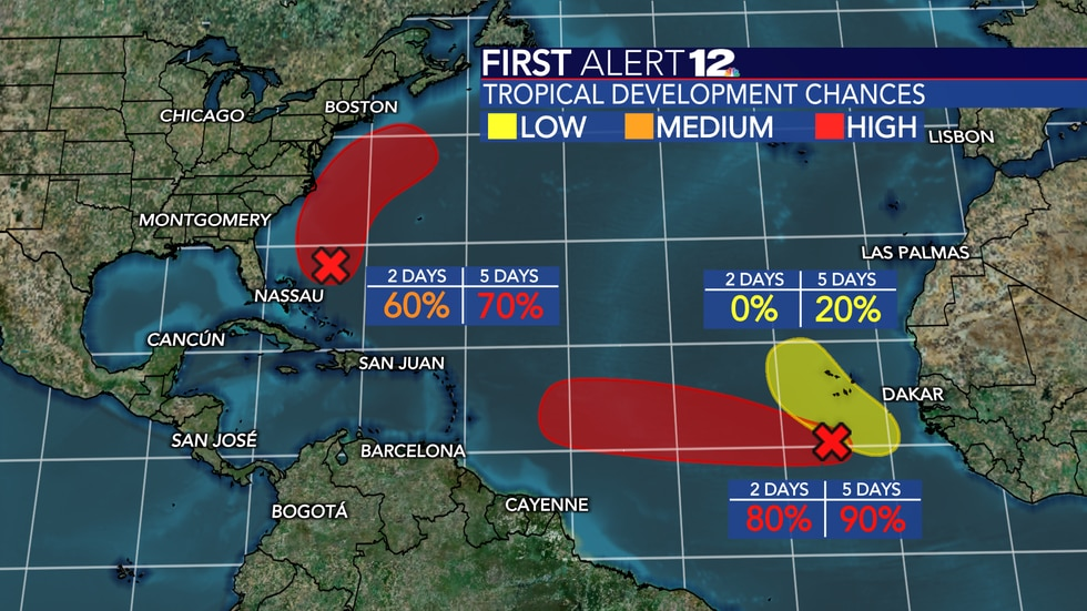 """Two systems in the Atlantic Basin have a """"high"""" chance of development."""