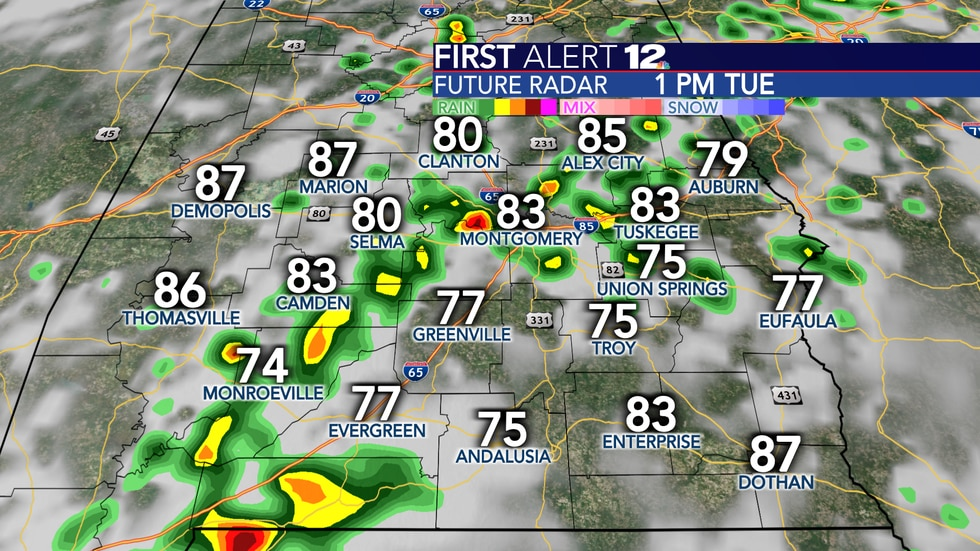 A good chance of showers and storms again Tuesday.