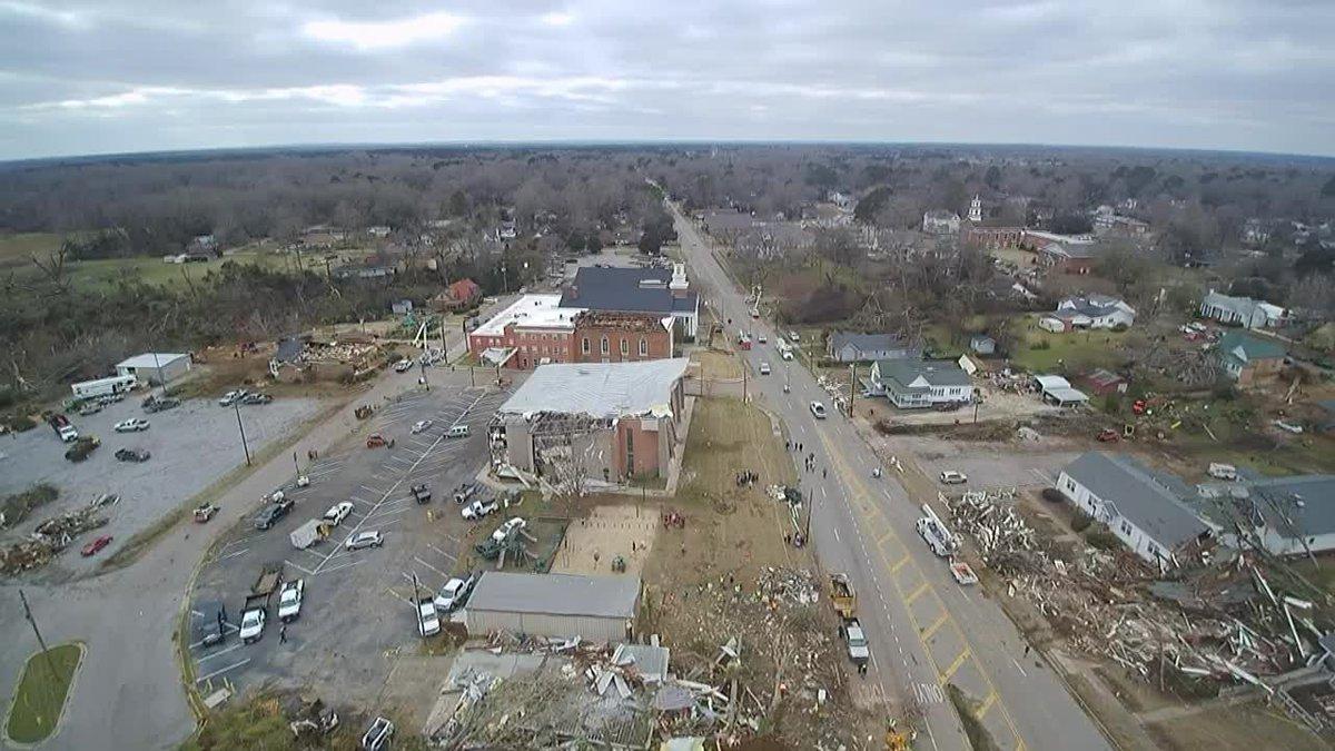 GF Default - Drone footage of tornado damage in downtown Wetumpka