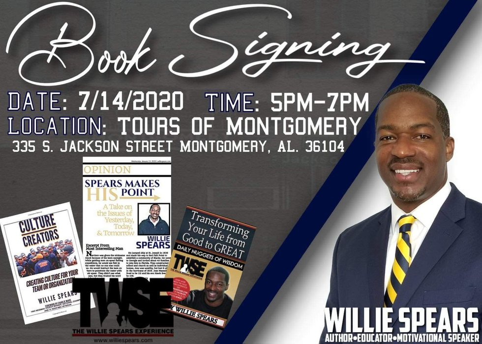 Willie Spears has a book signing on Tuesday.