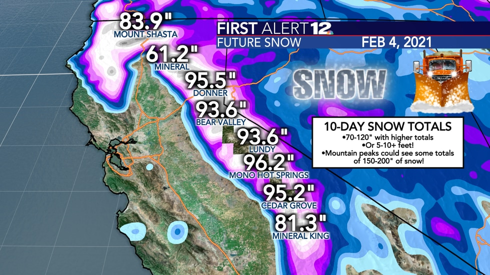Snow totals in the mountains of Central California will reach 5-10+ feet over the course of the...