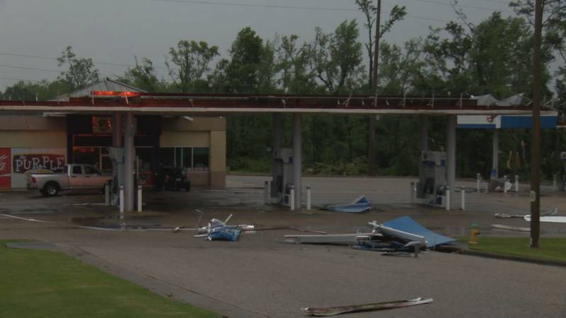 Storm damage at a gas station in Prattville.