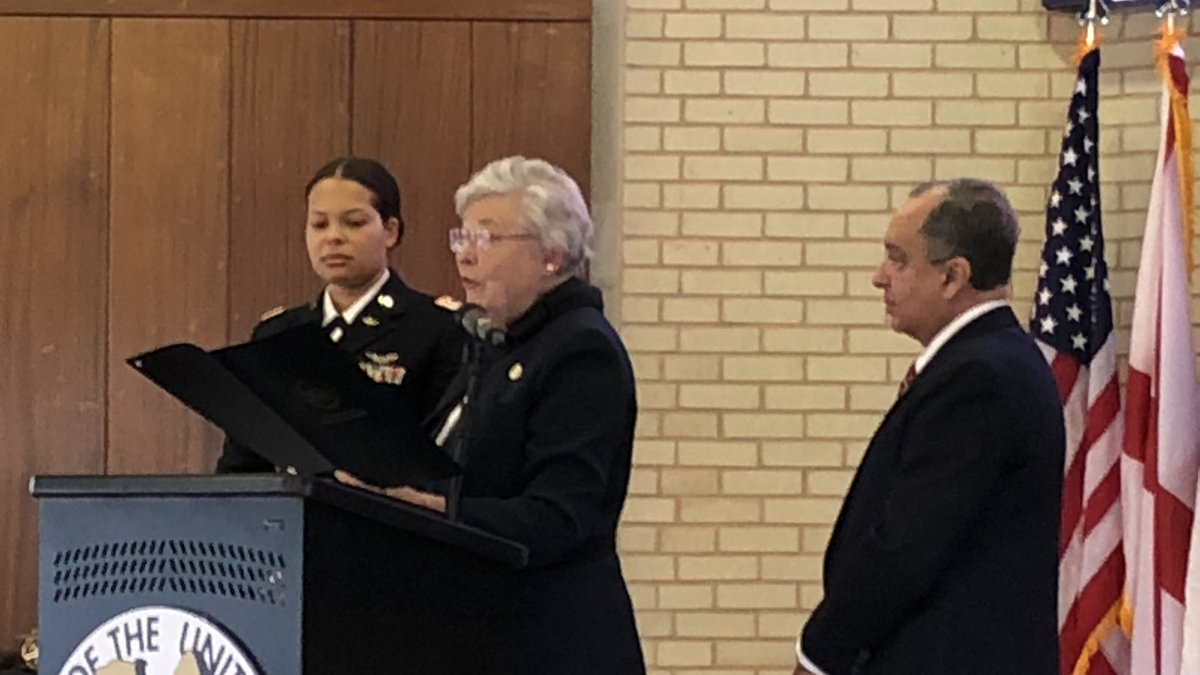 First Lt. Kayla Freeman receives veteran of the year award from Governor Kay Ivey