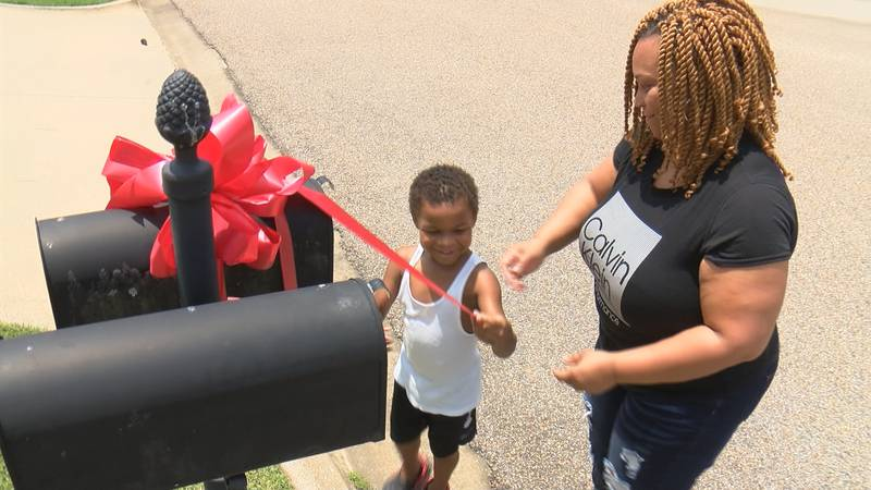 Red bows are popping up on mailboxes in Woodland Creek in Pike Road to support a 5-year-old...