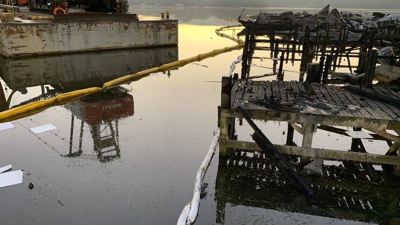 A photo Thursday morning shows oil and other debris still in the Jackson County Park marina...