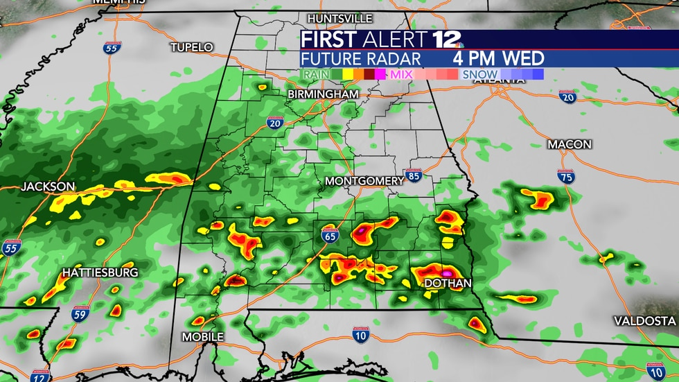 Showers and a few storms are likely Wednesday.