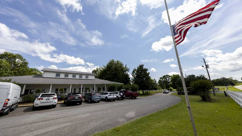 The Us Flag flies at half mast Sunday, June 20, 2021, in Camp Hill, Ala.,  at the Alabama...