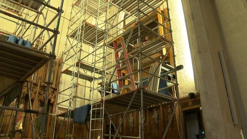 Scaffolding covers the choir loft at Montgomery's First United Methodist Church, which has...