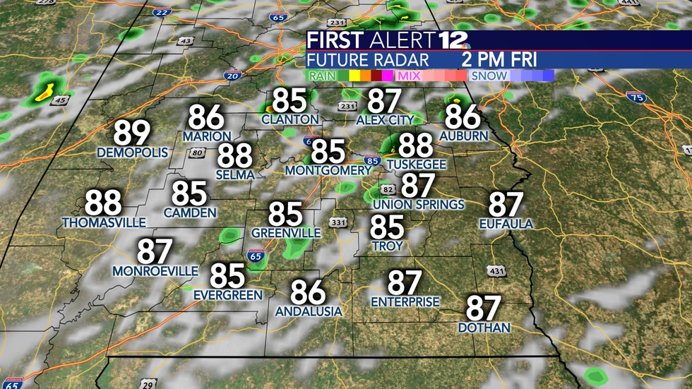 Isolated to scattered showers are possible Friday and Saturday