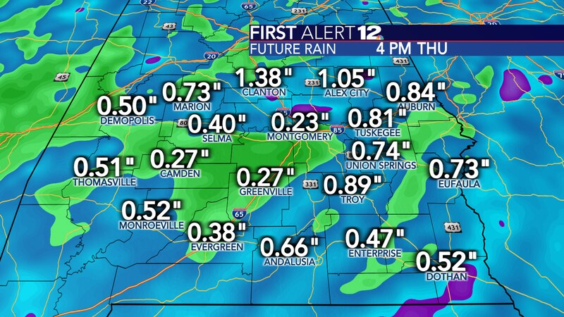 Rain totals won't be too high Wednesday evening into Thursday morning. No flooding is expected.