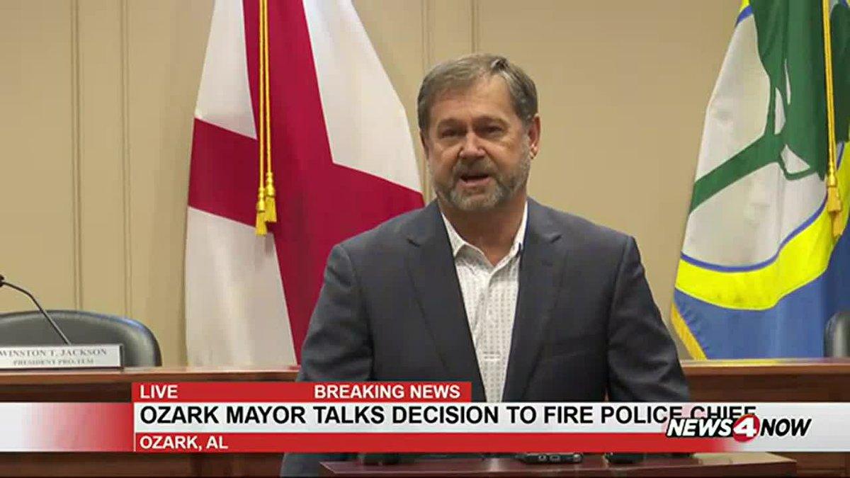 Ozark Mayor Mark Blankenship spoke Wednesday morning after the city fired Police Chief Marlos...