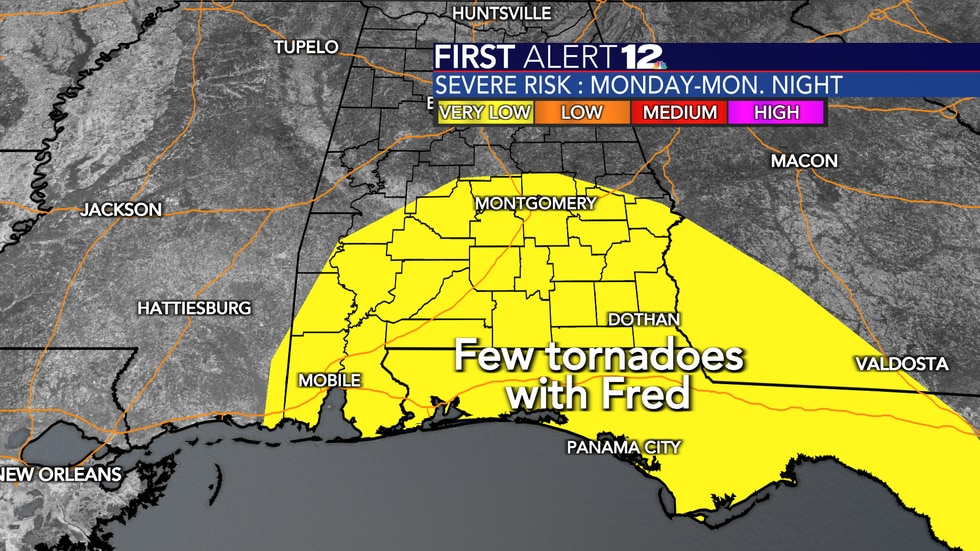 There's a spin-up tornado threat Monday into Tuesday in association with Fred.