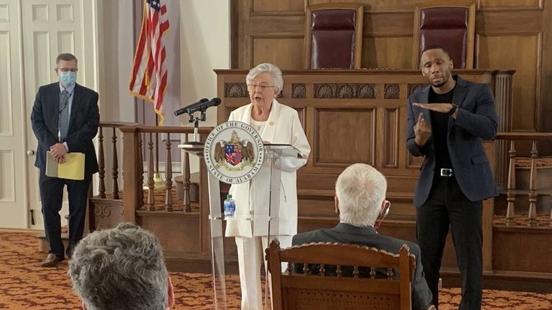 Gov. Kay Ivey and State Health Officer Dr. Scott Harris announce an extension of Alabama's...