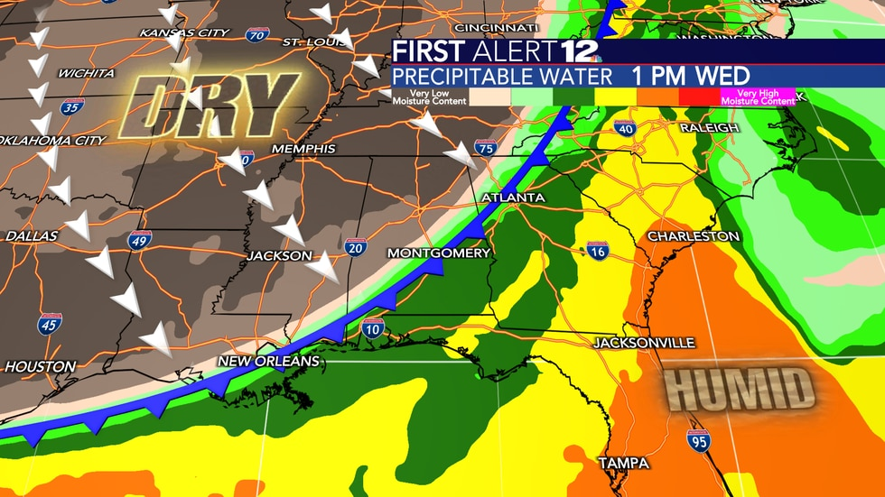 A fall cold front will push through next Wednesday, which will shove the mugginess and rain out...