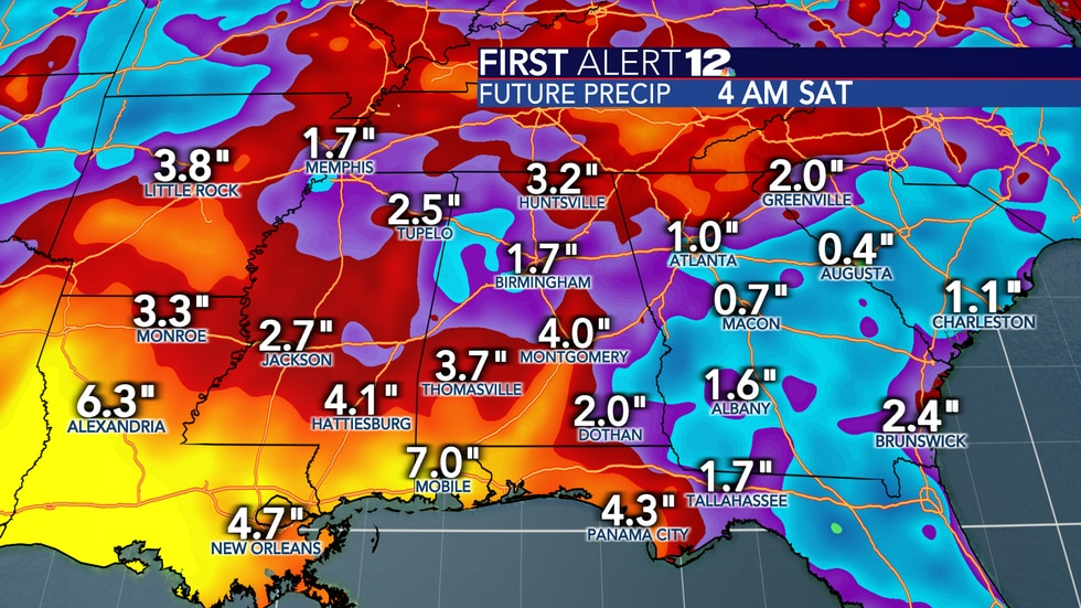 Heavy rain totals are expected along the Gulf Coast over the next week -- especially to our...