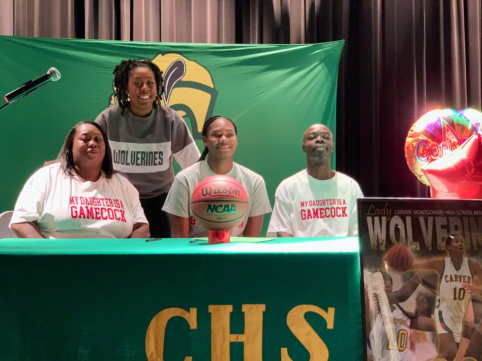 Carver senior Breanna Rhodes signed her NLI to play basketball at Jacksonville State University...