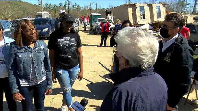 Governor Ivey tours damage after tornadoes ravaged Alabama.