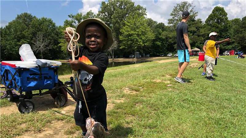 8-year-old Brandon Hall knows what's for dinner. Brandon and his sister caught four fish at...