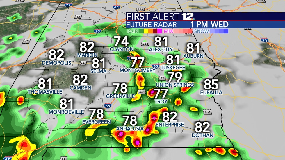 Scattered to numerous showers and storms are again expected Wednesday.