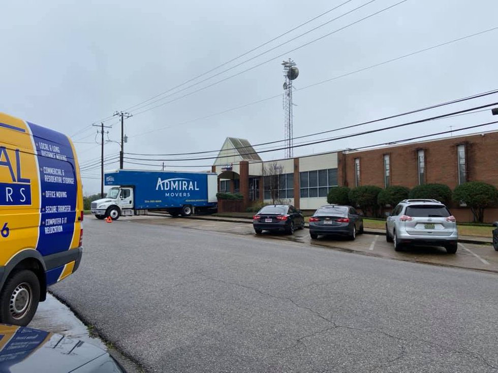 A moving truck loads boxes for the WSFA sales department on Jan. 24, 2020.