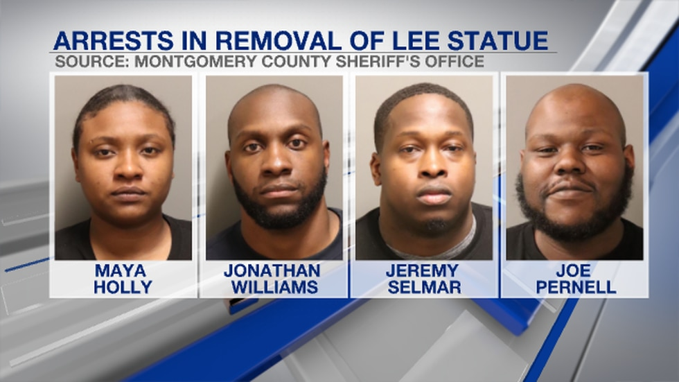Four suspects have been charged after a statue of Confederate General Robert E. Lee was toppled...