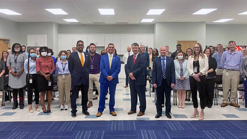 Alabama Attorney General Steve Marshall poses with multiple members of the Alabama Department...