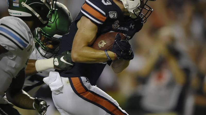Will Hastings scores Auburn's first touchdown.Auburn Football Tulane at Auburn on Saturday,...