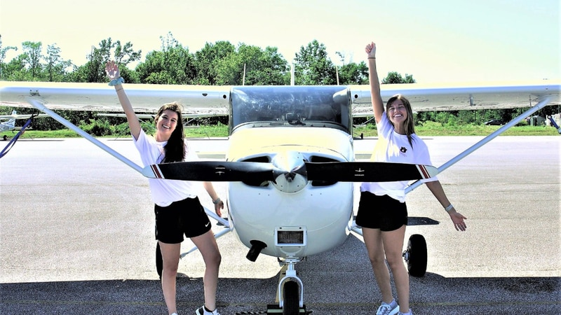 Caitlyn Miller and Kendall Higdon place second in the 43rd annual Air Race Classic