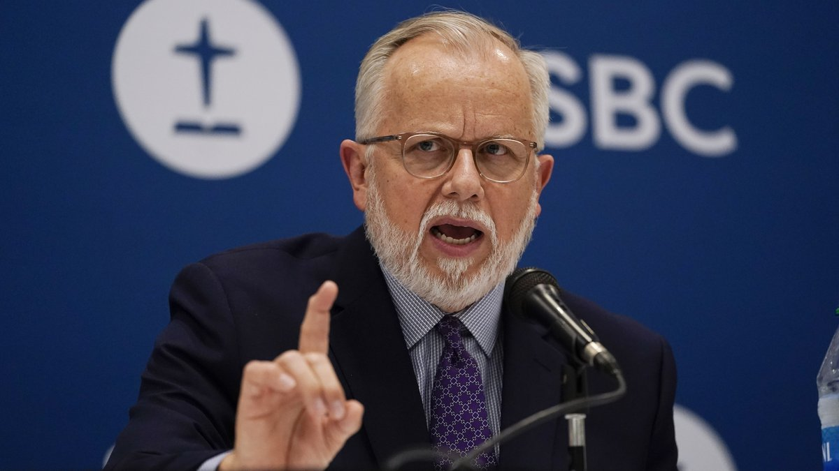 Pastor Ed Litton, of Saraland, Ala., answers questions after being elected president of the...