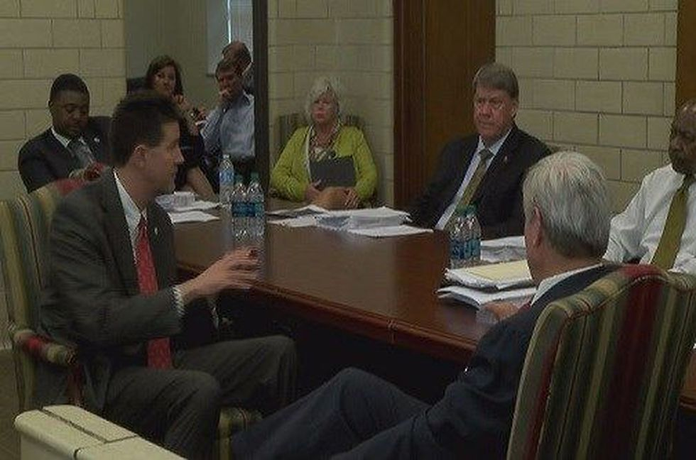 Secretary of State John Merrill speaks to Montgomery city leaders about pilot program at the...